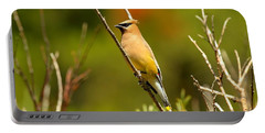 Fishercap Cedar Waxwing Portable Battery Charger by Adam Jewell
