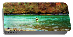 Portable Battery Charger featuring the photograph Fisherman Hot Springs Ar In Oil by Diana Mary Sharpton