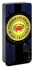 Fishermans Wharf Sign At Night Portable Battery Charger