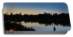 Fishing At Dusk Portable Battery Charger
