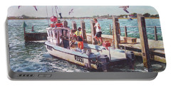 Portable Battery Charger featuring the painting Fishing Boat At Mudeford Quay by Martin Davey