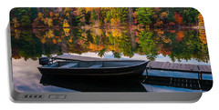Fishing Boat On Mirror Lake Portable Battery Charger