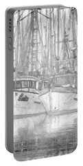 Fishing Boat Sketch Portable Battery Charger by Richard Farrington