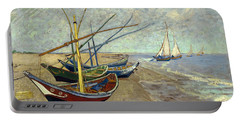 Portable Battery Charger featuring the painting Fishing Boats On The Beach by Van Gogh