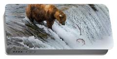 Fishing Brown Bear At Brooks Falls, Katmai National Park Portable Battery Charger
