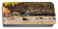 Portable Battery Charger featuring the photograph Fishing In Fall by Sheila Brown