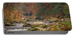 Fishing In Mountain Stream Portable Battery Charger by Tom Claud