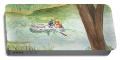 Portable Battery Charger featuring the painting Fishing Lake Tanko by Vicki  Housel