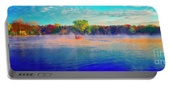 Fishing On Crystal Lake, Il., Sport, Fall Portable Battery Charger by Tom Jelen