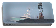 Portable Battery Charger featuring the photograph Fishing On The Inlet Jetty by Robert Banach