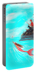 Portable Battery Charger featuring the painting Fishing Surprise by Leslie Allen
