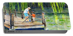 Portable Battery Charger featuring the painting Fishing With Grandpa by Carlin Blahnik CarlinArtWatercolor