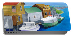 Portable Battery Charger featuring the painting Fishtown by Rodney Campbell
