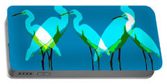 Portable Battery Charger featuring the painting Five Egrets by David Lee Thompson
