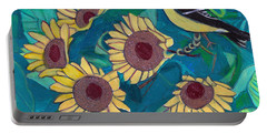 Portable Battery Charger featuring the painting Five Golden Rings by Denise Weaver Ross