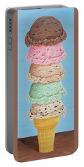 Portable Battery Charger featuring the painting Five Scoop Ice Cream Cone by Nancy Nale