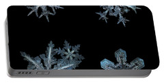 Five Snowflakes On Black 3 Portable Battery Charger