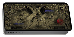 Portable Battery Charger featuring the digital art Five U.s. Dollar Bill - 1896 Educational Series In Gold On Black  by Serge Averbukh
