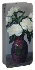 Five White Peonies In Purple Vase Portable Battery Charger