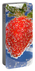 Fizzy Strawberry With Bubbles On Blue Background Portable Battery Charger