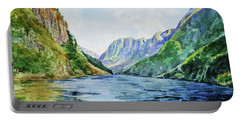 Fjord Of Norway Watercolor Landscape  Portable Battery Charger