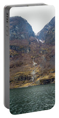 Portable Battery Charger featuring the photograph Fjord Waterfall by Suzanne Luft