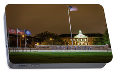 Portable Battery Charger featuring the photograph Flag At Night In Wind by Gregory Daley  PPSA