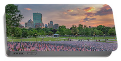 Flag Sunset On Boston Common Portable Battery Charger