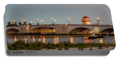 Flagler Bridge In Lights Panorama Portable Battery Charger