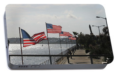 Portable Battery Charger featuring the photograph Flags On The Inlet Boardwalk by Robert Banach