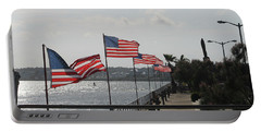 Flags On The Inlet Boardwalk Portable Battery Charger by Robert Banach