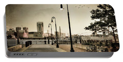 Portable Battery Charger featuring the photograph Flagship Wharf - Boston Harbor by Joann Vitali