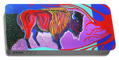 Flaming Heart Buffalo Portable Battery Charger by Debbie Chamberlin