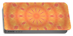 Portable Battery Charger featuring the digital art Flaming Sun by Elizabeth Lock