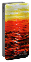 Portable Battery Charger featuring the painting Flaming Sunset Abstract 205173 by Mas Art Studio