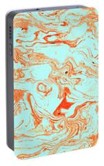 Flamingo And Sea Marble Portable Battery Charger by Uma Gokhale