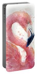 Flamingo - Facing Right Portable Battery Charger by Olga Shvartsur