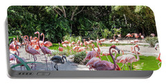 Flamingo Flock Portable Battery Charger by Daniel Hebard