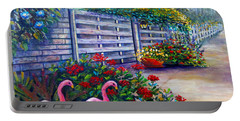 Portable Battery Charger featuring the painting Flamingo Gardens by Lou Ann Bagnall