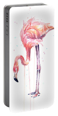 Flamingo Illustration Watercolor - Facing Left Portable Battery Charger