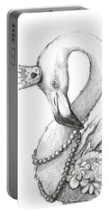 Flamingo In Pearl Necklace Portable Battery Charger