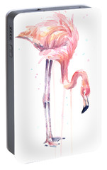 Flamingo Painting Watercolor Portable Battery Charger by Olga Shvartsur