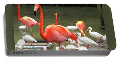Portable Battery Charger featuring the photograph Flamingo Party by Beth Saffer