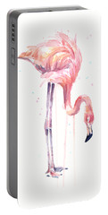 Flamingo Watercolor - Facing Left Portable Battery Charger