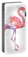 Flamingo Watercolor Facing Right Portable Battery Charger