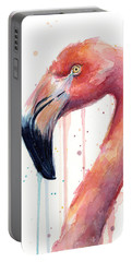 Flamingo Watercolor Illustration Portable Battery Charger