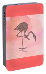Portable Battery Charger featuring the digital art Flamingo4 by Megan Dirsa-DuBois