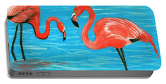 Portable Battery Charger featuring the painting Flamingos by Anastasiya Malakhova