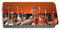 Portable Battery Charger featuring the photograph Flamingos At The Cape by Ericamaxine Price