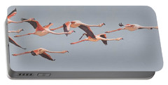 Flamingos In Flight Portable Battery Charger